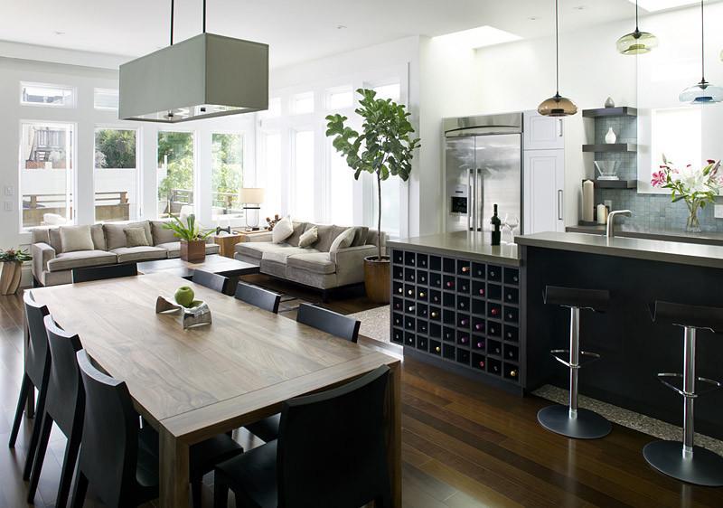 Стильный дизайн интерьера кухни в чёрно-белой гамме от Feldman Architecture, Inc.