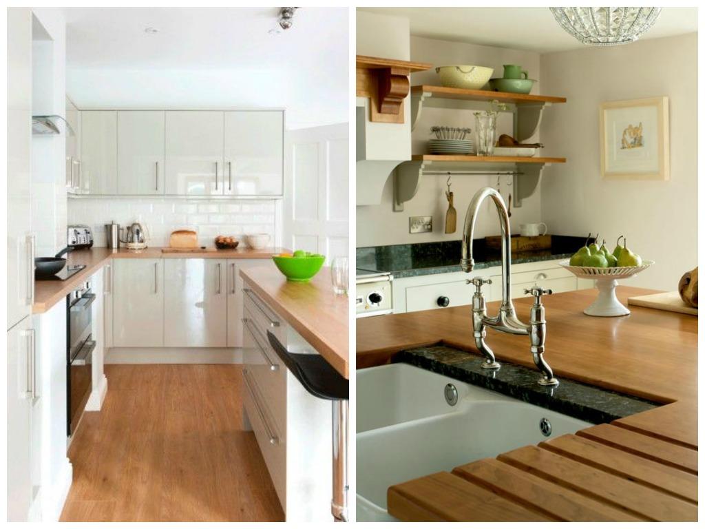Варианты кухонных столешниц: поверхность из натурального дерева