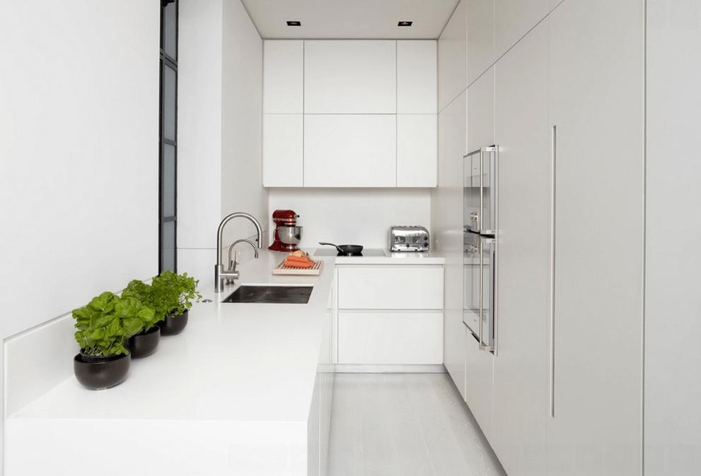Современный стиль в белой кухне