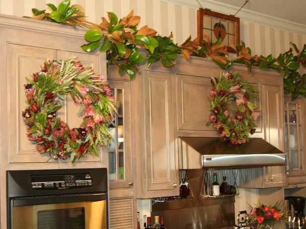 Украшения кухни с помощью листьев