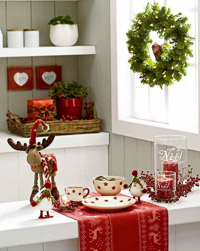 Предметы декора на кухне в рождественской тематике