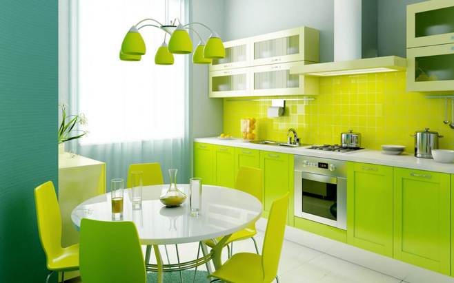 Яркий дизайн кухни салатового цвета