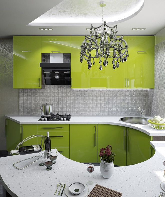 Яркий дизайн интерьера кухни в сочной палитре салатового цвета