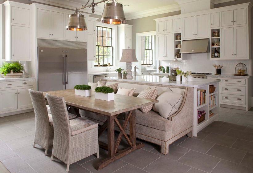 Скамейки для кухни: диван-скамья в стильном интерьере кухни