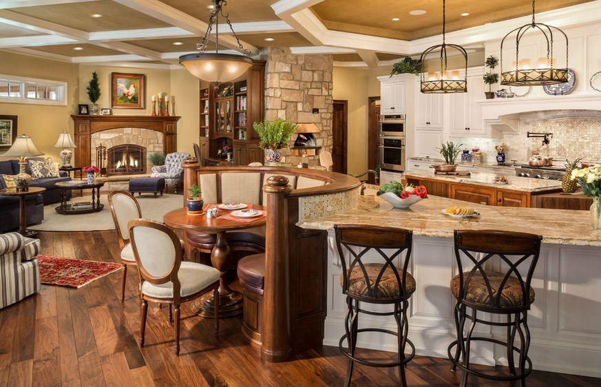 Оригинальная скамейка полукруглой формы в стильном интерьере кухни