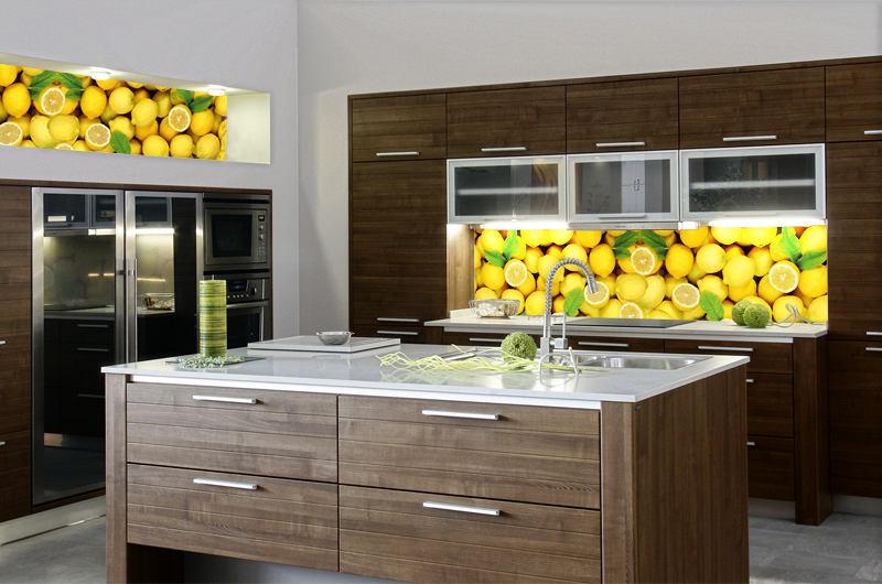Рисунок лимонов на фартуке из стекла