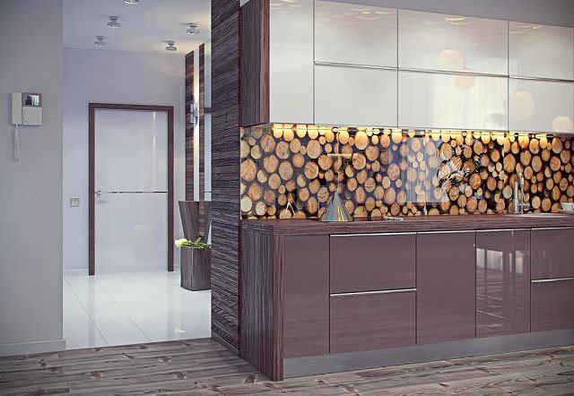 Рисунок деревьев на фартуке из стекла