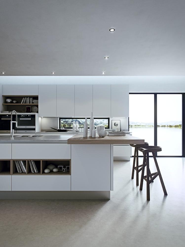 Белые стены на современной кухне