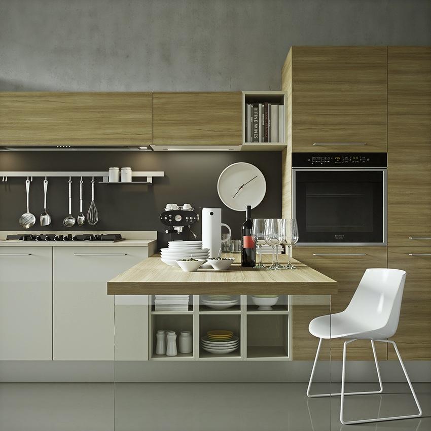 Серый потолок на современной кухне