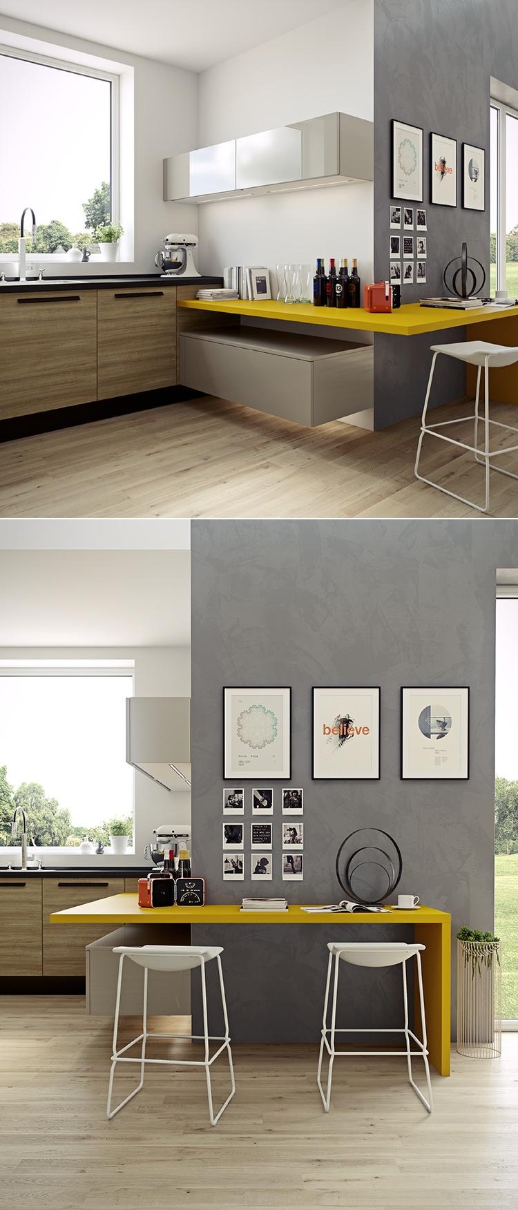 Серая стена на современной кухне
