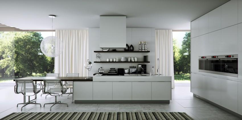 Плитка на полу на современной кухне