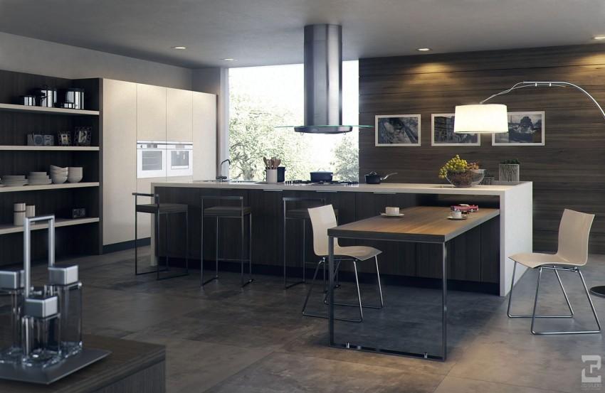 Низкий потолок на современной кухне