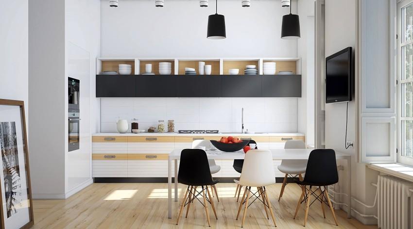 Белые стены и черная мебель на современной кухне