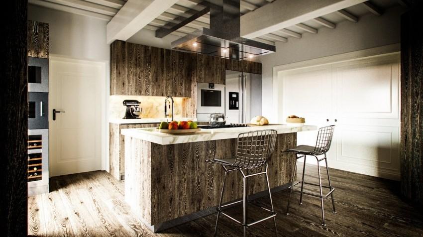 Деревянная отделка на современной кухне