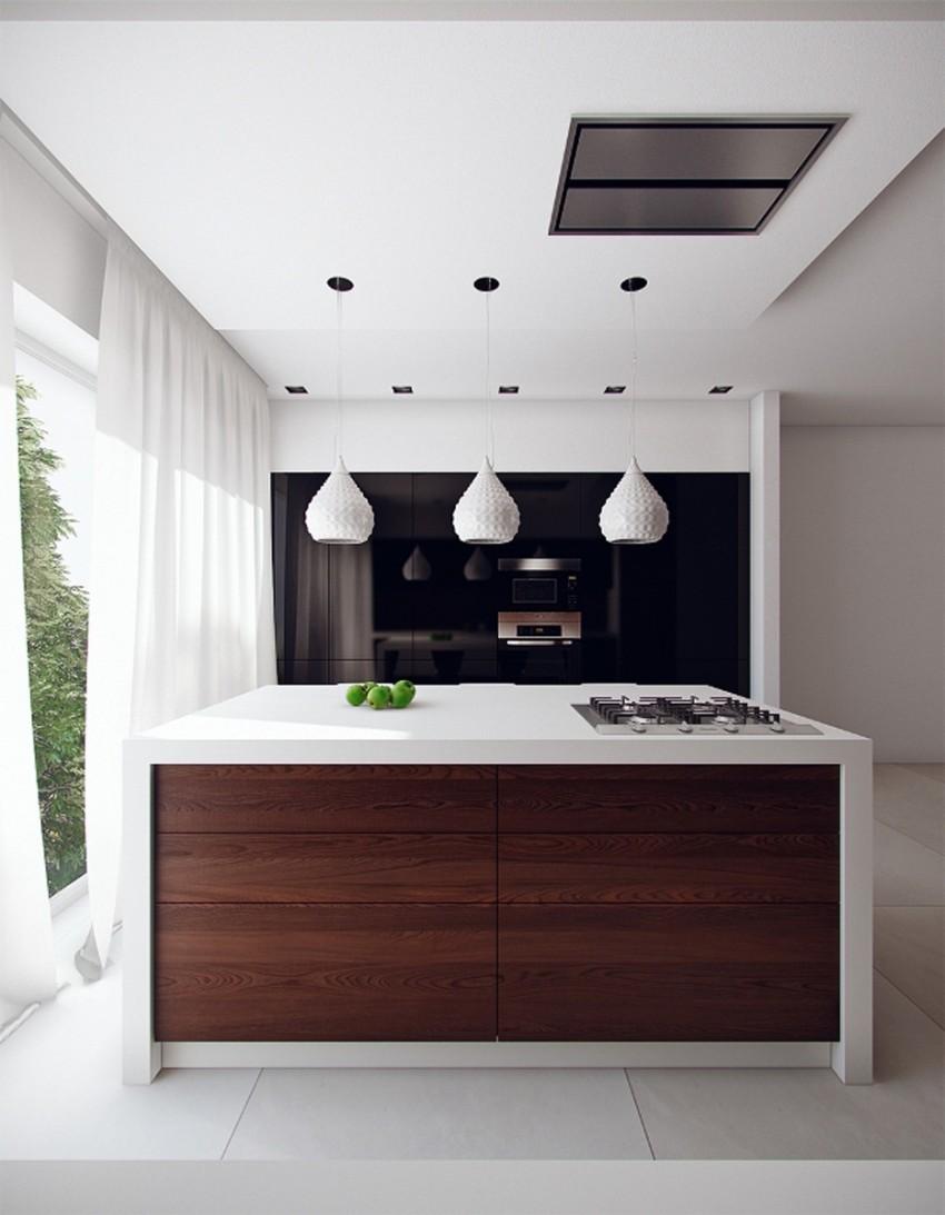 Белая рабочая зона на кухне