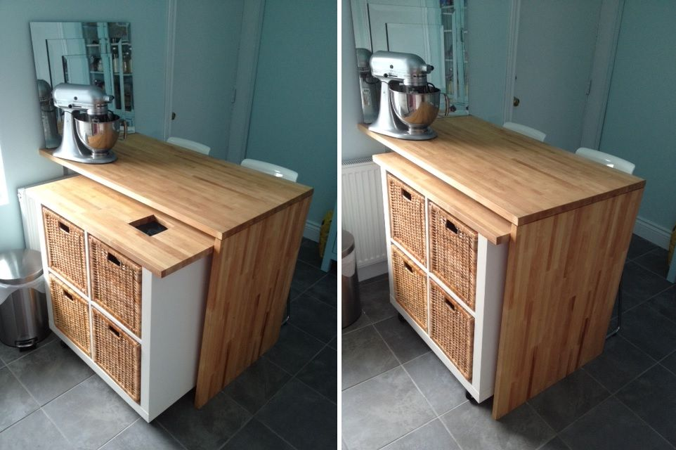Деревянная тумба на кухне