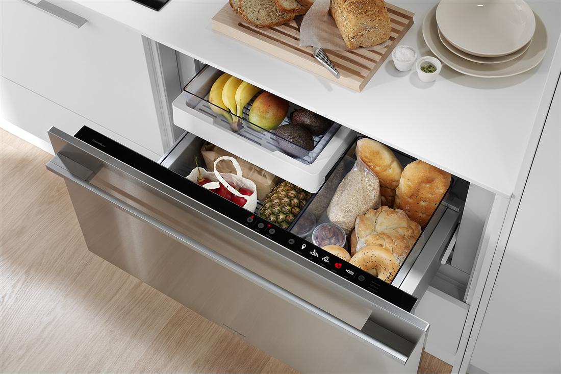 Современный выдвижной холодильник от Fisher & Paykel