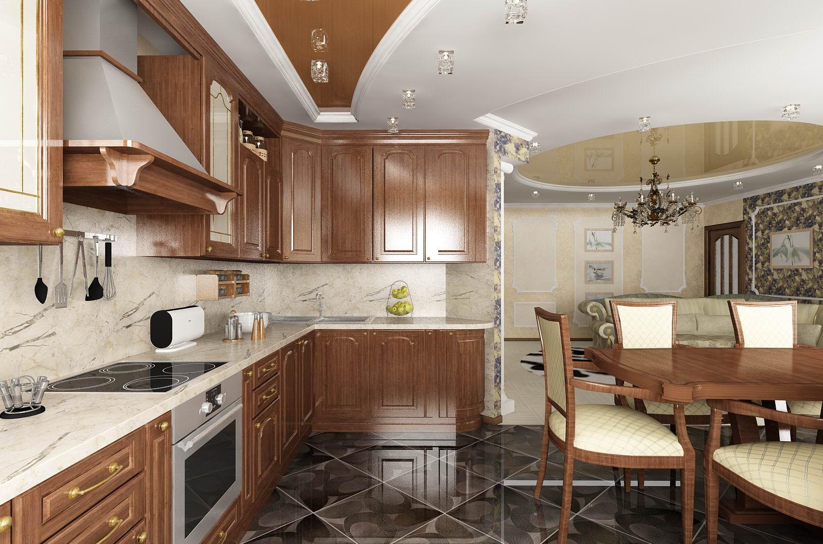 Потолочные светильники для освещения мебели на кухне