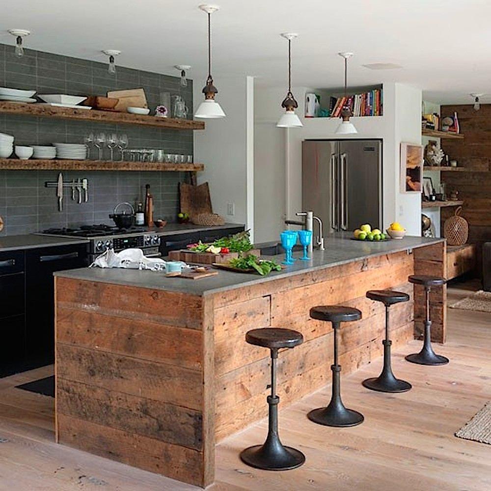 Дизайн кухонного острова из дерева