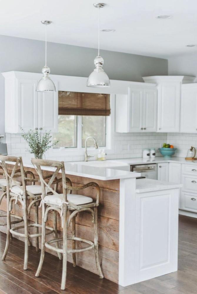 Деревянная облицовка кухонного острова