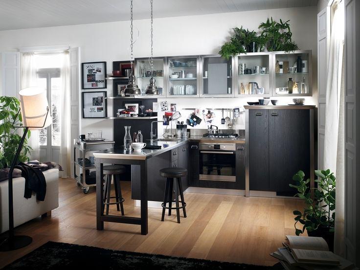Серо-черное оформление кухни