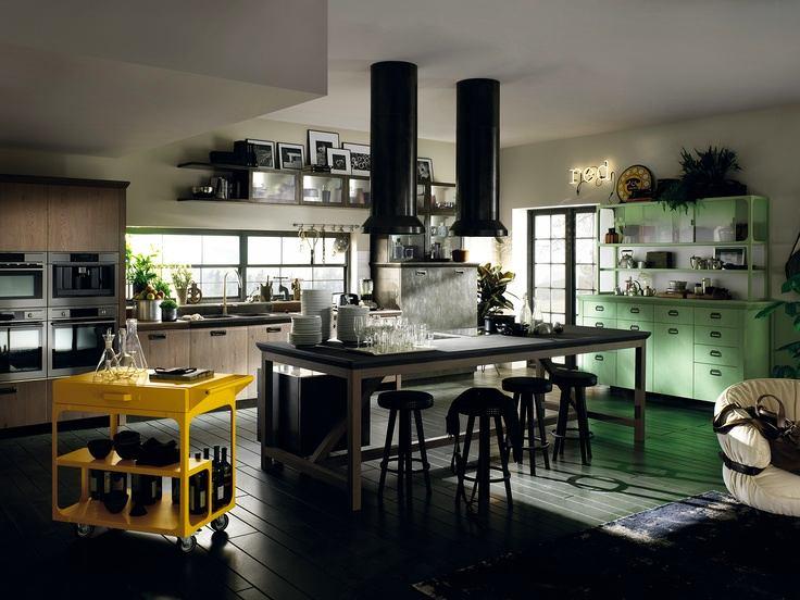 Пол черного цвета на кухне