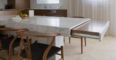 Компактные и многофункциональные выдвижные столы для кухонь
