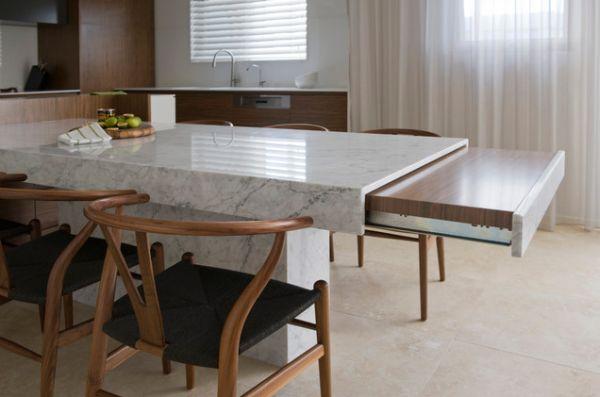 Выдвижная полка-стол для обеда на кухне