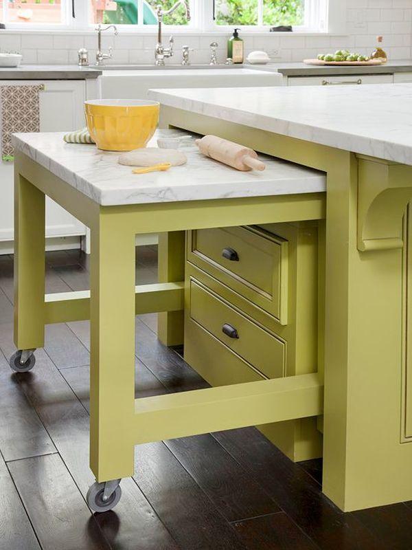 Выдвижные столы на кухне: очаровательный интерьер в салатовом цвете