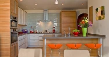 Яркие весенние краски в стильном интерьере кухни