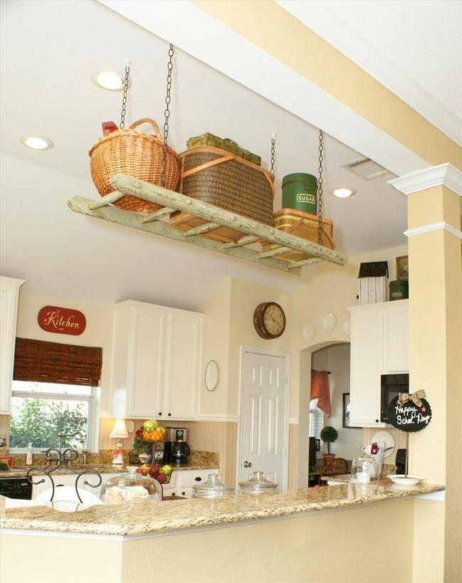 Системы хранения для кухни - консоль в виде лестницы под потолком