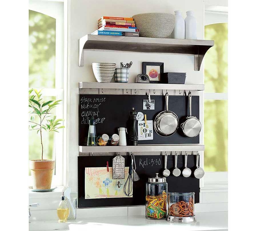Системы хранения для кухни - металлическая панель с полкой