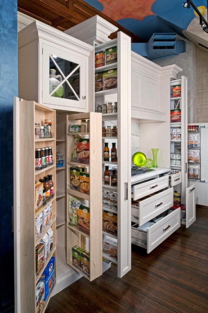 Вертикальные выдвижные ящики на кухне