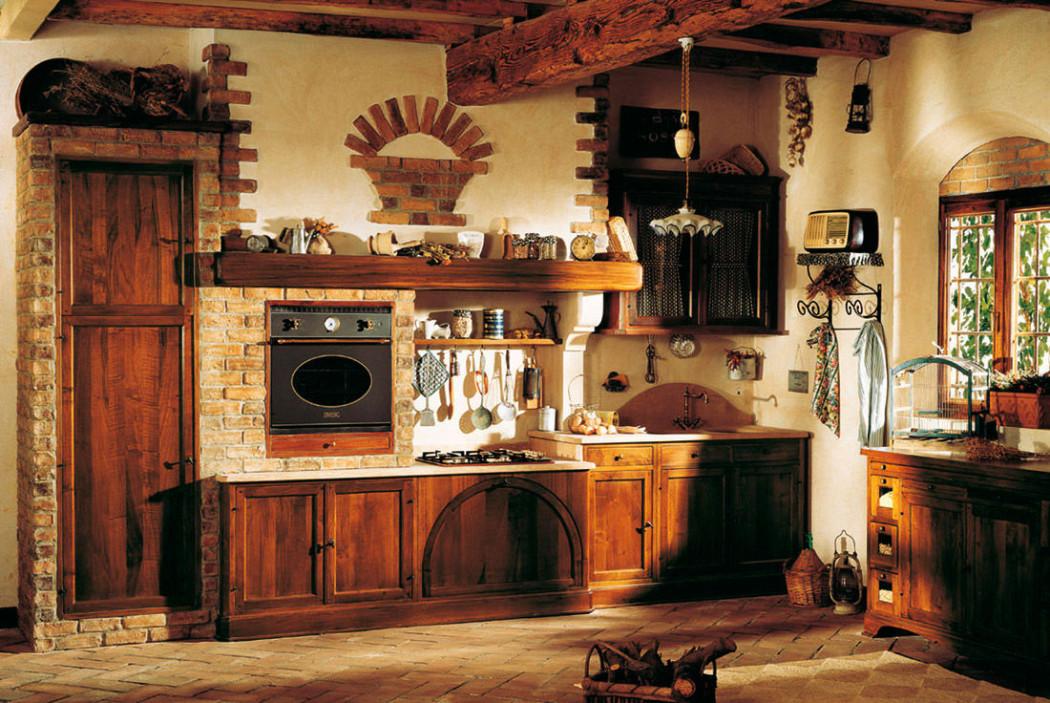 Сочетания кирпича с деревом в оформлении кухни