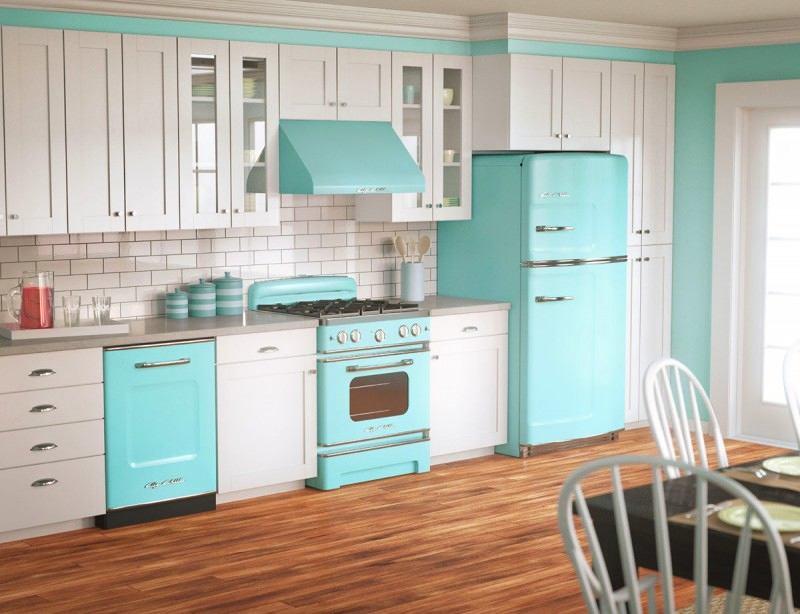 Оформление кухни в ретро стиле