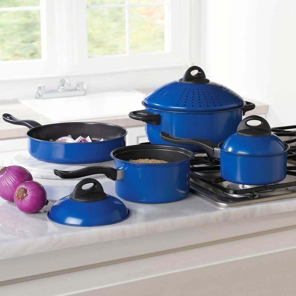 Синий набор посуды