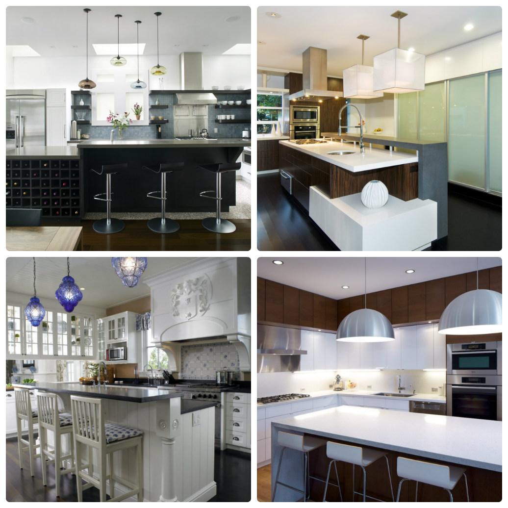 Подвесные кухонные светильники на кухне