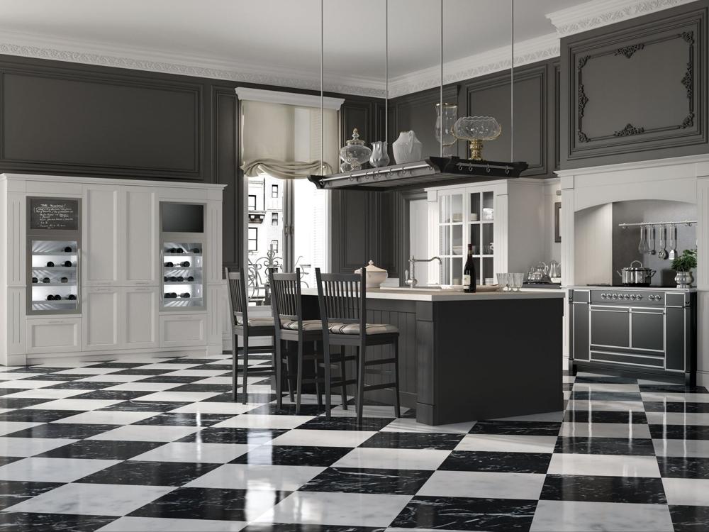 Английский стиль кухни в чёрно-белых тонах