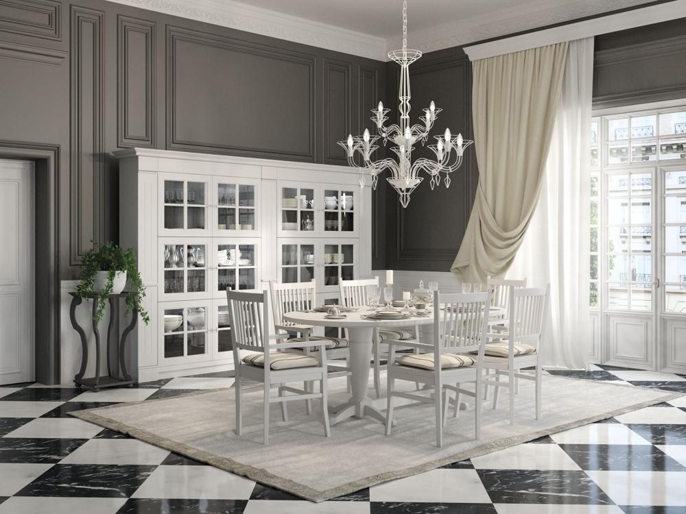 Английский стиль кухни: белый столовый гарнитур