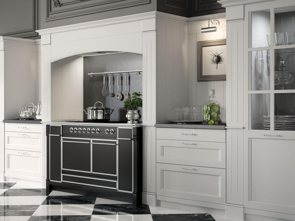 Английский стиль кухни: чёрная панель под плитой