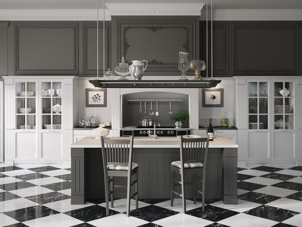 Английский стиль кухни: подвесная полка с декоративными вазами