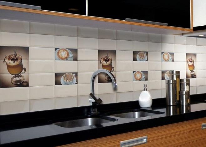 Фартук на кухню из керамический плитки – фото