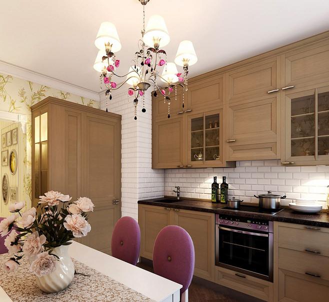 Оформление кухонного фартука белой плиткой «метро»