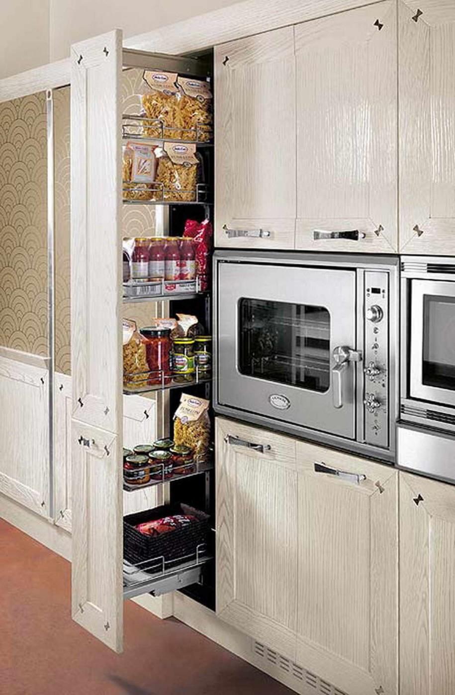Выдвижной вертикальный ящик в кухонном гарнитуре Papillon
