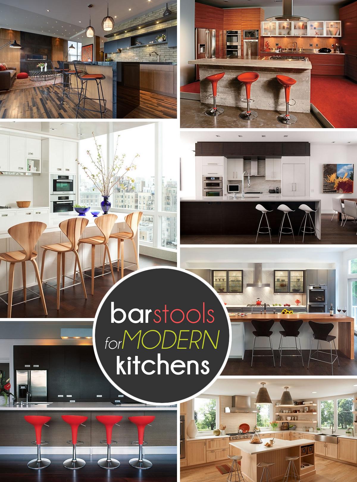 Фотоколлаж: стильные барные стулья в интерьере кухни