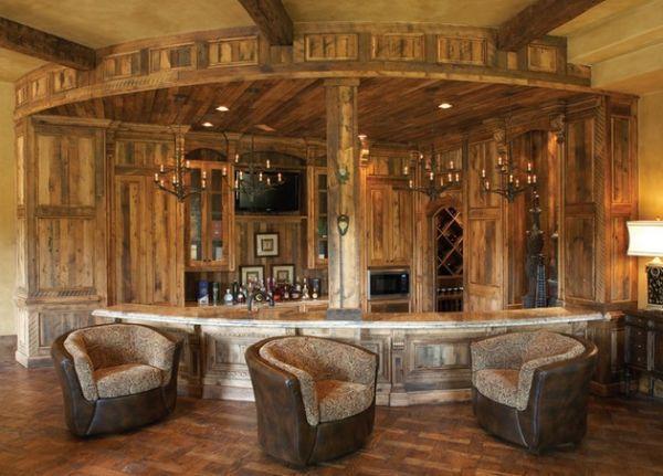 Классическая деревянная барная стойка