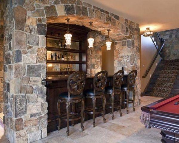Барная стойка с аркой из камня