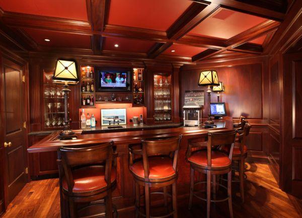 Роскошный тёмный бар в вишнёвых тонах