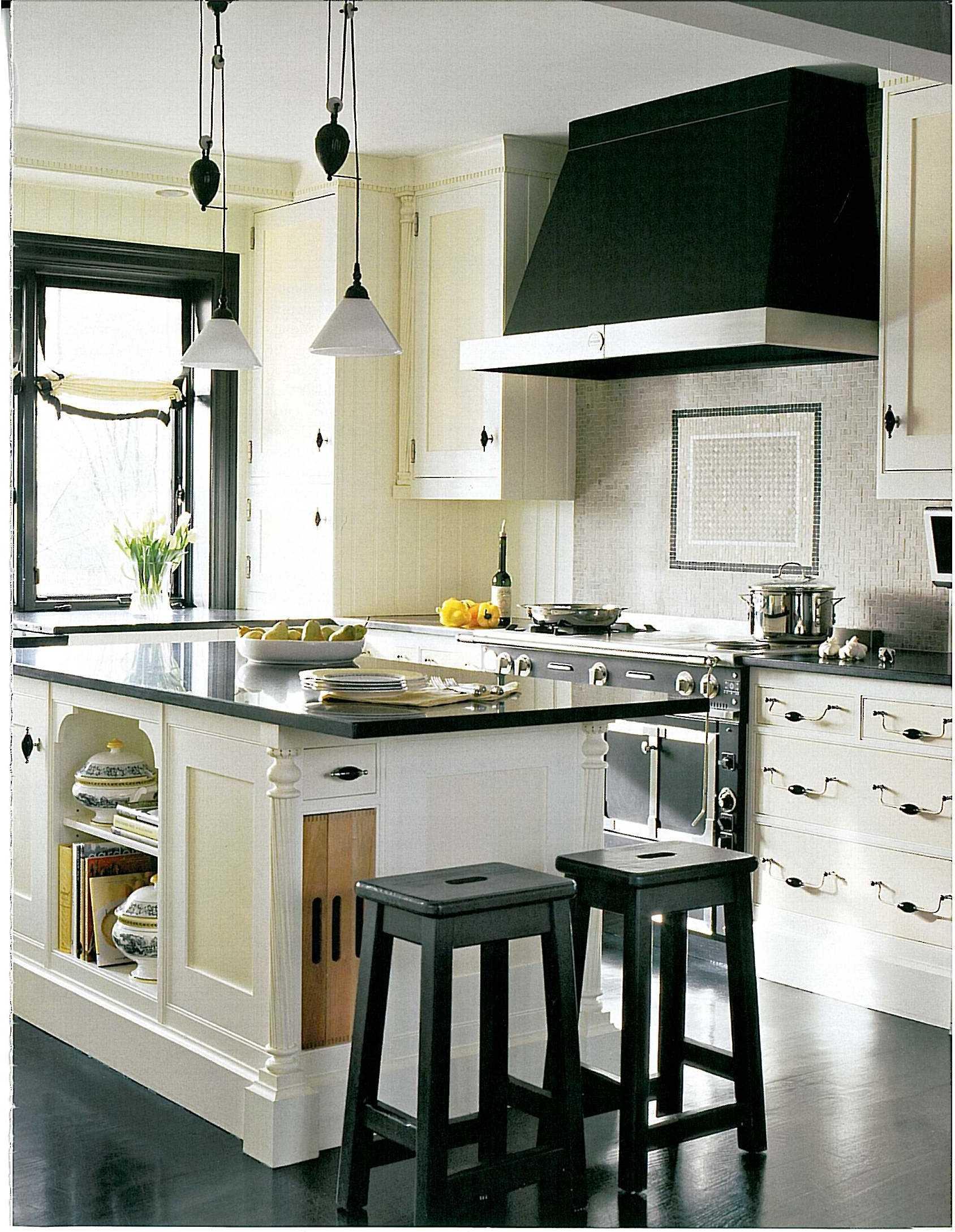 Черно-белое оформление кухони