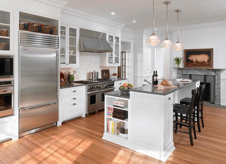Черно-белый остров на кухне